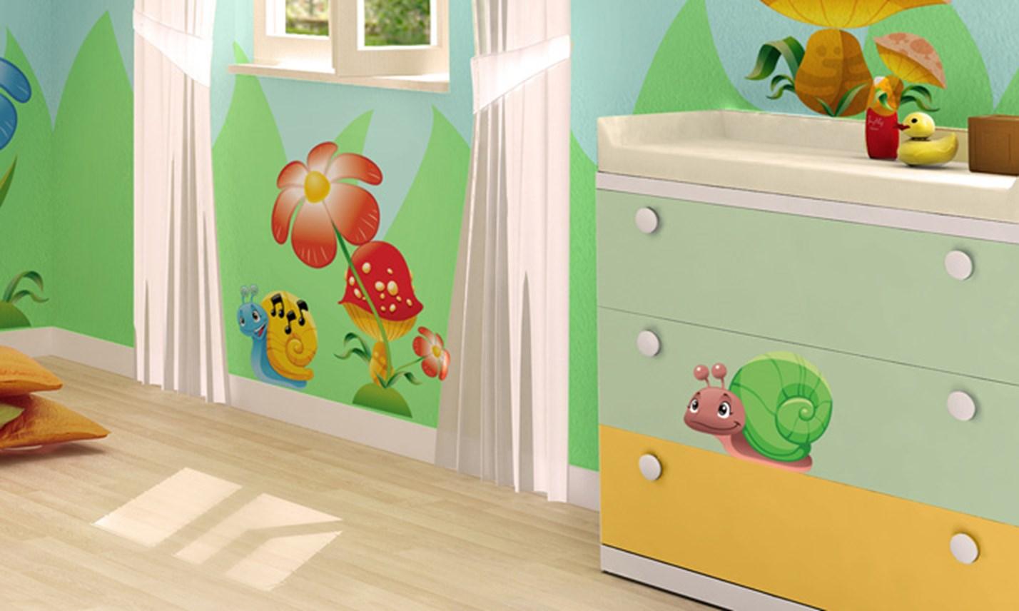 Stickers murali bambini cameretta amici del giardino for Crea cameretta